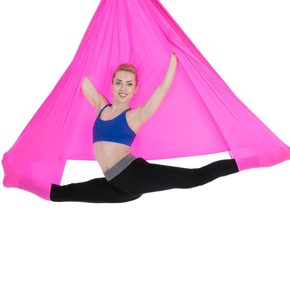 Fitness & Body Building 6*2.8m Yoga Pilates Flying Swing Anti-gravity Yoga Hammock Hanging Belt Aerial Traction Device Gym Body Building Equipment