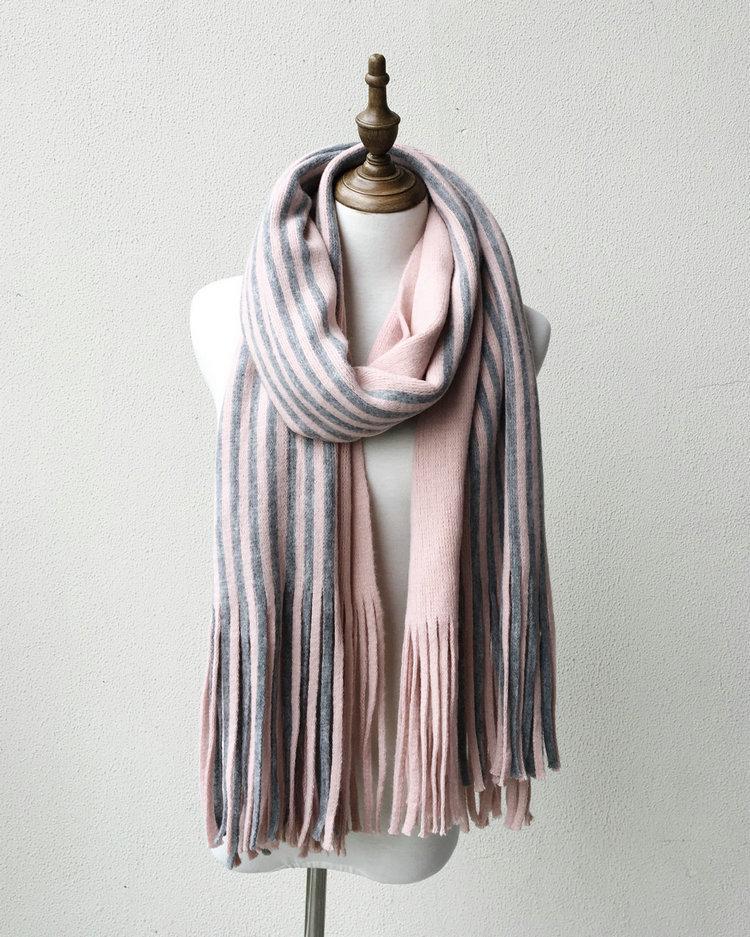 Kış kadın Faux Kaşmir Eşarp Moda Püskül Çizgili Patchwork Kalınlaşmak Sıcak Panço Pelerin Yün Şal