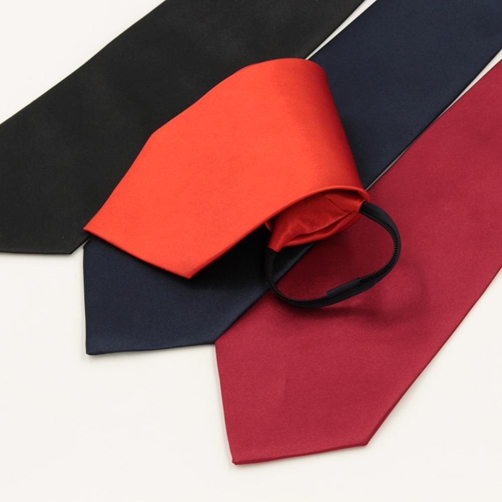 1 piece Pre-tied Business Zipper Ties For Men Wedding Slim Classic Polyester Fashion Necktie Solid Black Red Color 10cm Width