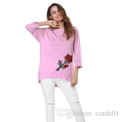 Hot Selling Spring Women Embroidery Pullover Casual Sweatshirt Floral Rose Printed O-Neck Female Wear Clothing Top