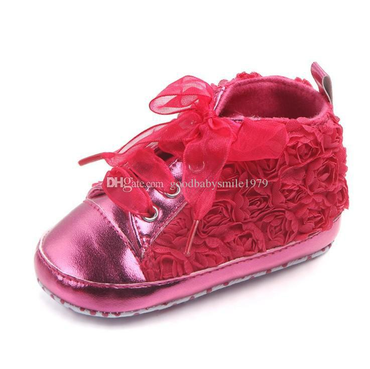 Fashion cute baby kids girl toddler non-slip soft sole crib sneaker shoes prewalker boots baby girls rose lace shoes