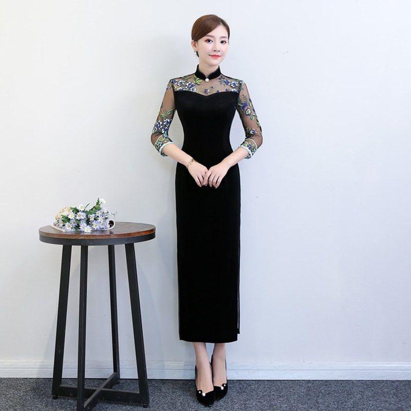 9348a2ab3c7ff9 Nouvelle arrivée robe orientale style chinois robe longue velours Cheongsam  fleur broderie Qipao femmes chinoises plus la taille 4XL