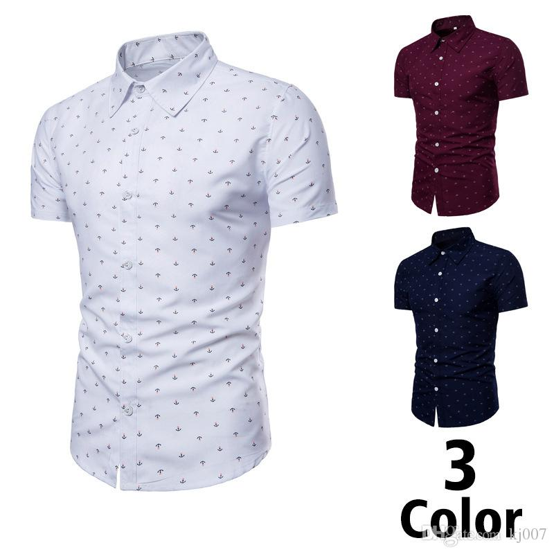 Compre Nuevas Marcas Para Hombres Camisas De Ancla Moda Playa Impresa  Camisas De Algodón De Manga Corta Polo Botón Único Nuevas Camisetas Hombre  Ropa Envío ... 98b3cb9ade7f0