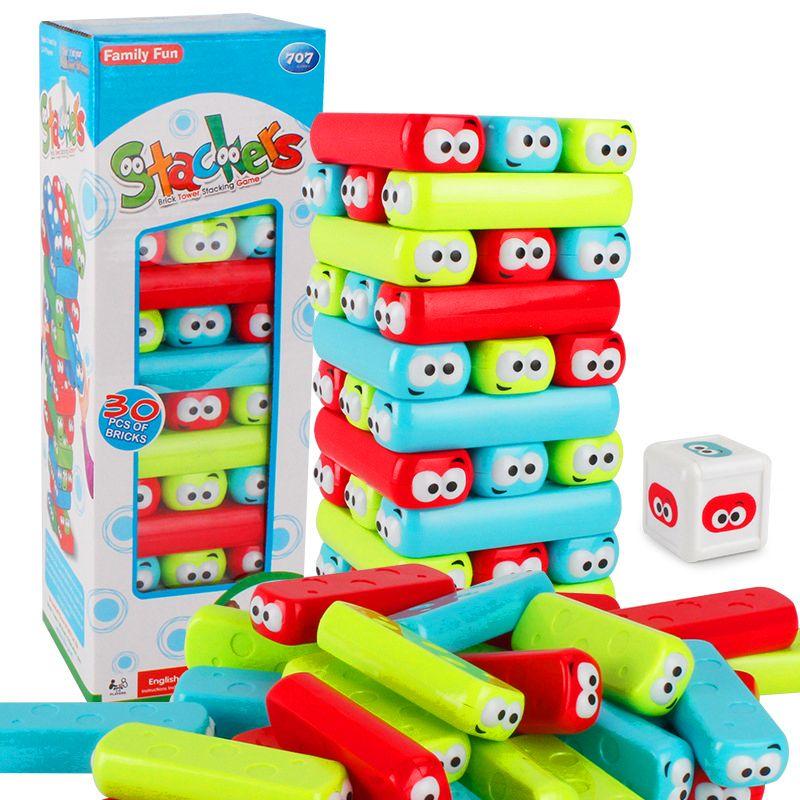 Bricks Cartoon Plastic Tower Jenga Game Stacker Building Blocks Baby  Stacking Toy Brain Teaser Interactive Game Educational Toys