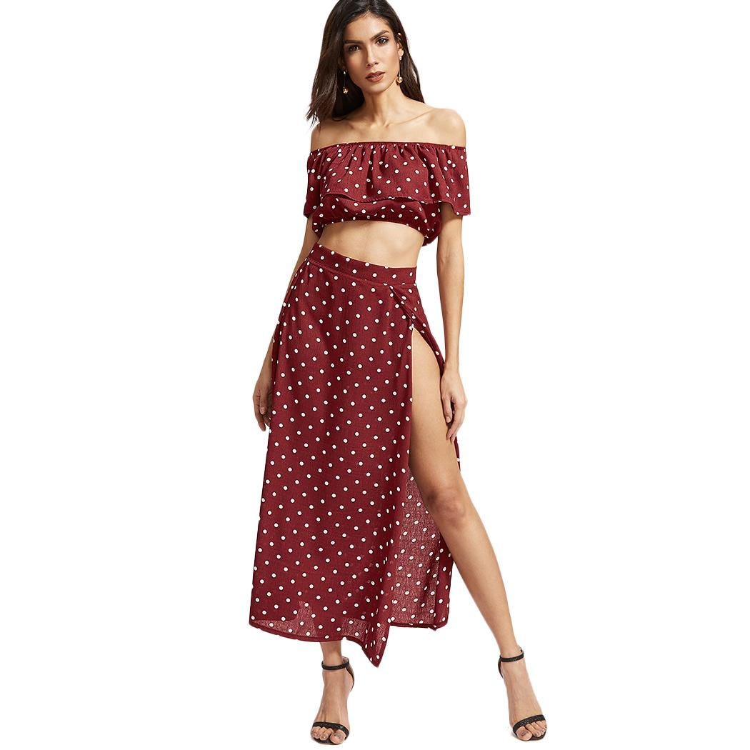e6ebedd483 2019 Women Set Off Shoulder Ruffle Crop Tops And Skirts Sexy Dot Print Cropped  Split Skirt Summer Boho Beach Two Piece Set From Vanilla01, $36.41 | DHgate.