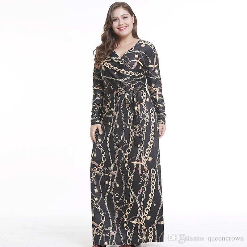 S XXL Fashion Gold Printed Crew Neck Women Dress Black V Neck Casual Dresses  For Lady Long Sleeve Floor Length Long Dress For Party Black And White  Dresses ... da34ef394