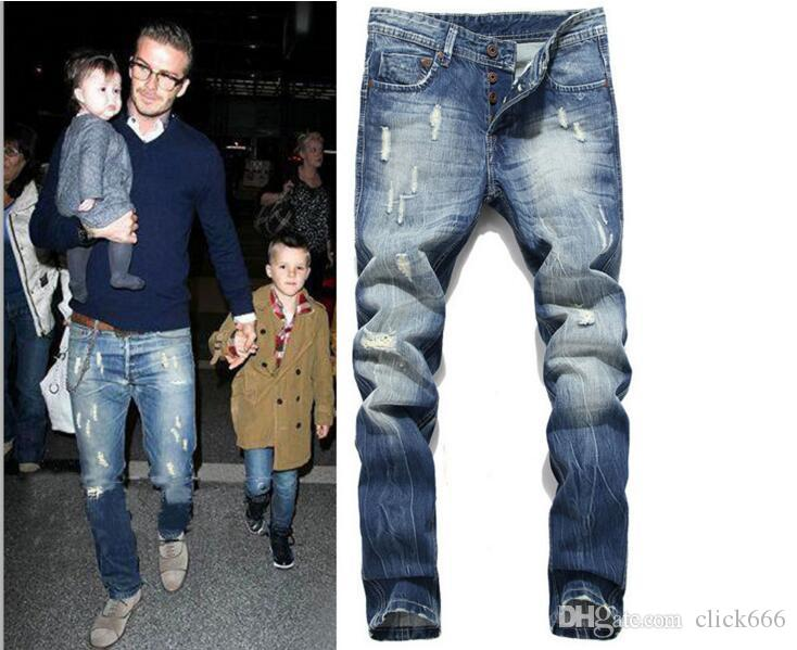 3520e0e69 2018 nuevos jeans rasgados para hombres flacos Distressed delgado famoso  diseñador de marca biker hip hop swag tyga blanco negro jeans kanye west ...