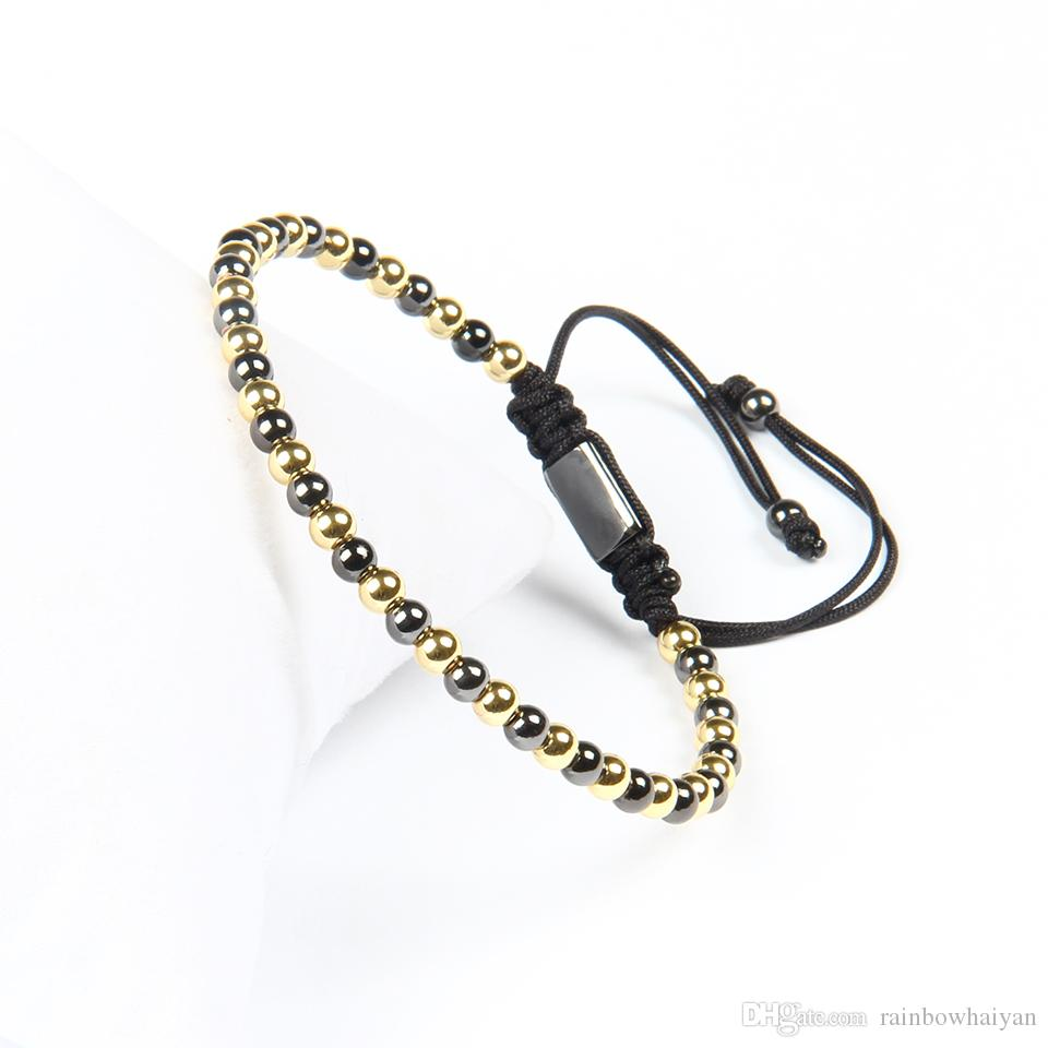 Wholesale Top Quality Jewelry 4mm Gold And Black Beads Braided Macrame Bracelets For Men Not fade