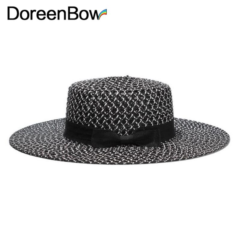 Acquista DoreenBow New Fashion Summer Large Tesa Cappello Di Paglia Donna  Uomo Brim Sea Cappelli Da Spiaggia Couples Travel Sun Knot Bow Hat Black A   34.98 ... 6dcf4226c984