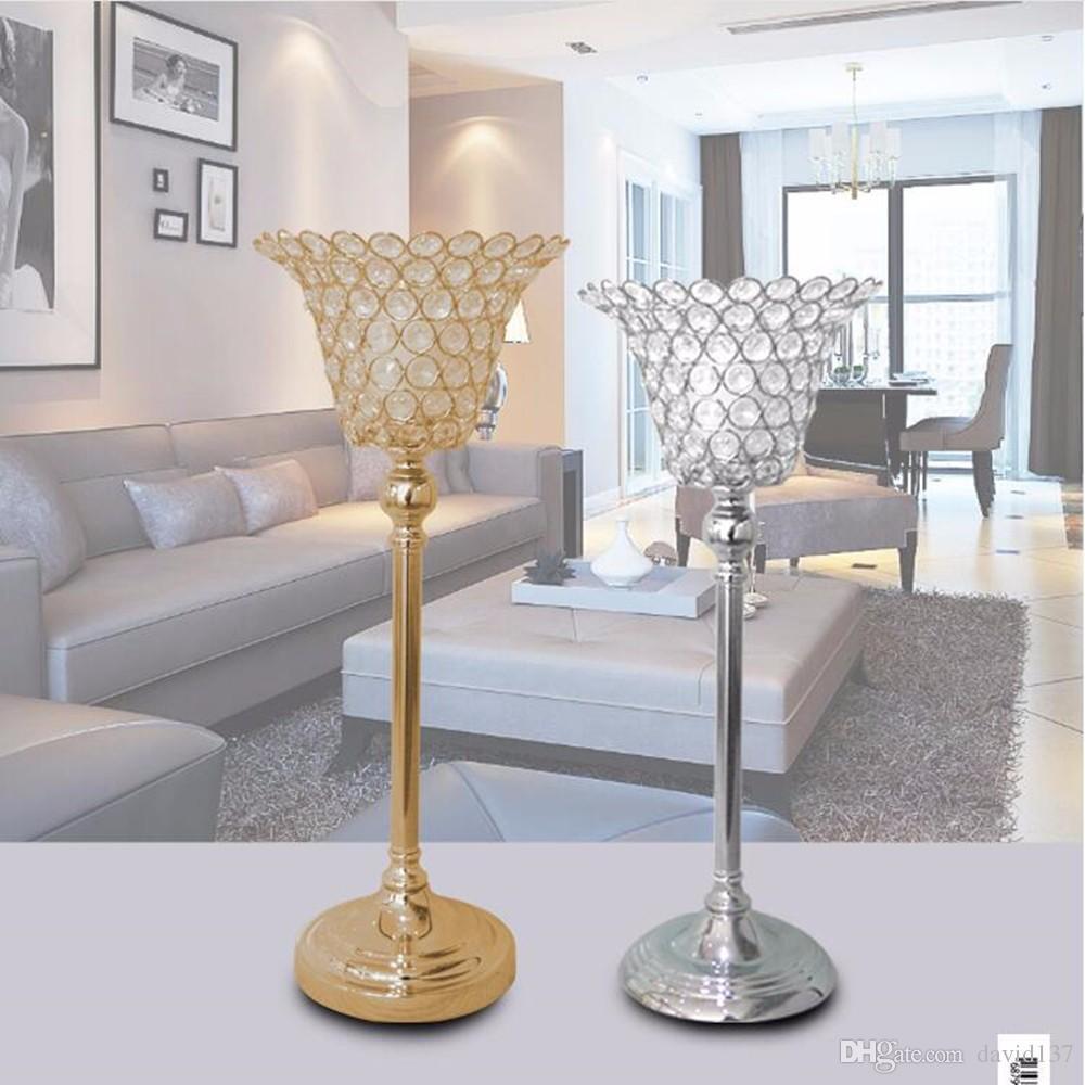 Pillar Crystal Candle Holder, Crystal Beaded Candle Holder