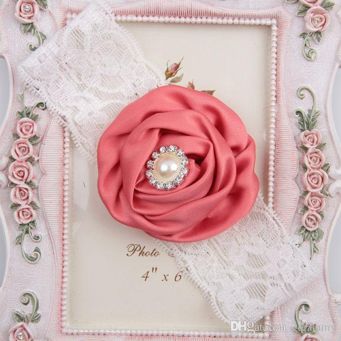 lace pearl crystal flowers baby girls elastic headbands unisex headwear hair jewelry toddlers newborn photography props