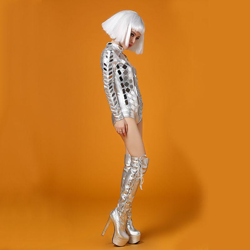 2018 Ds Dress Silver Head Piece Mirrors Body Traje Stage Dance Wear Outfit Party Mujer Cantante Bailarín DJ Bar Performance Sexy Leotardo