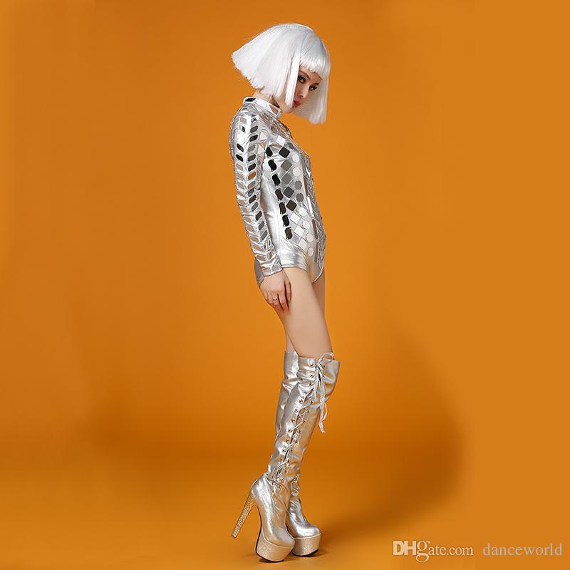 Ds Elbise Gümüş Kafa Adet Aynalar Bodysuit Kostüm Sahne Dans Giyim Kıyafet Parti Kadın Şarkıcı Dansçı DJ Bar Performansı Seksi Leotard
