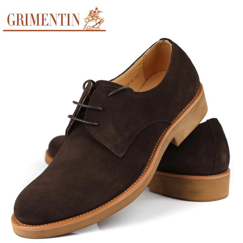 1e0ce6a4 Compre GRIMENTIN Clásicos De La Vendimia Zapatos De Cuero Genuino De Gamuza  De Los Hombres Con Cordones De Negocios De Moda Casual Oxford Zapatos De  Los ...
