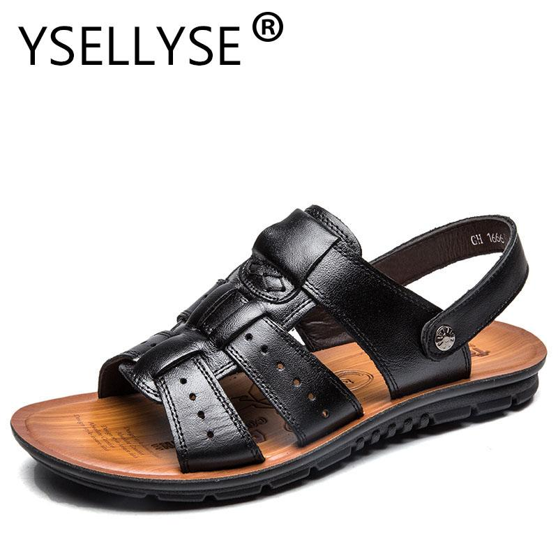 5a3ff1e8878f38 Plus Size 47 Men Genuine Leather Beach Shoes Slippers Summer Air Soft Flip  Flops Elastic Sandals Flip Flops Sandalias Two Colors Cheap Sandals Summer  ...