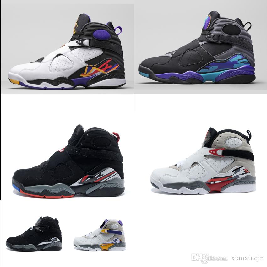 reputable site 5d304 19c21 2019 Mens Retro 8s Basketball Shoes J8 Chrome Aqua Playoffs Three Peat MVP  Championship Black White Aj8 Jumpman 8 VIII Sneakers Boots With Box From ...