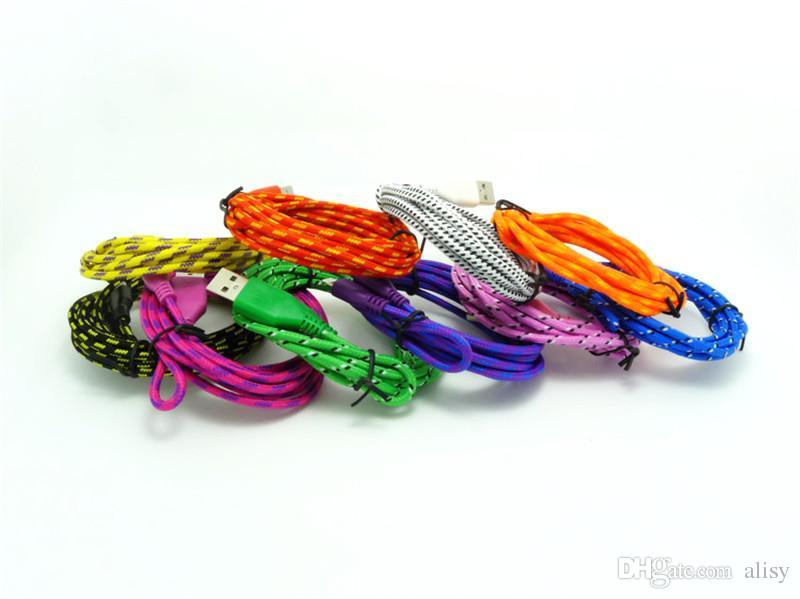 1M 2M 3M Fabric Braided Data Charger Charging Cable Wide Fiber Nylon Fabric Woven Cord Lead Samsung from alisy