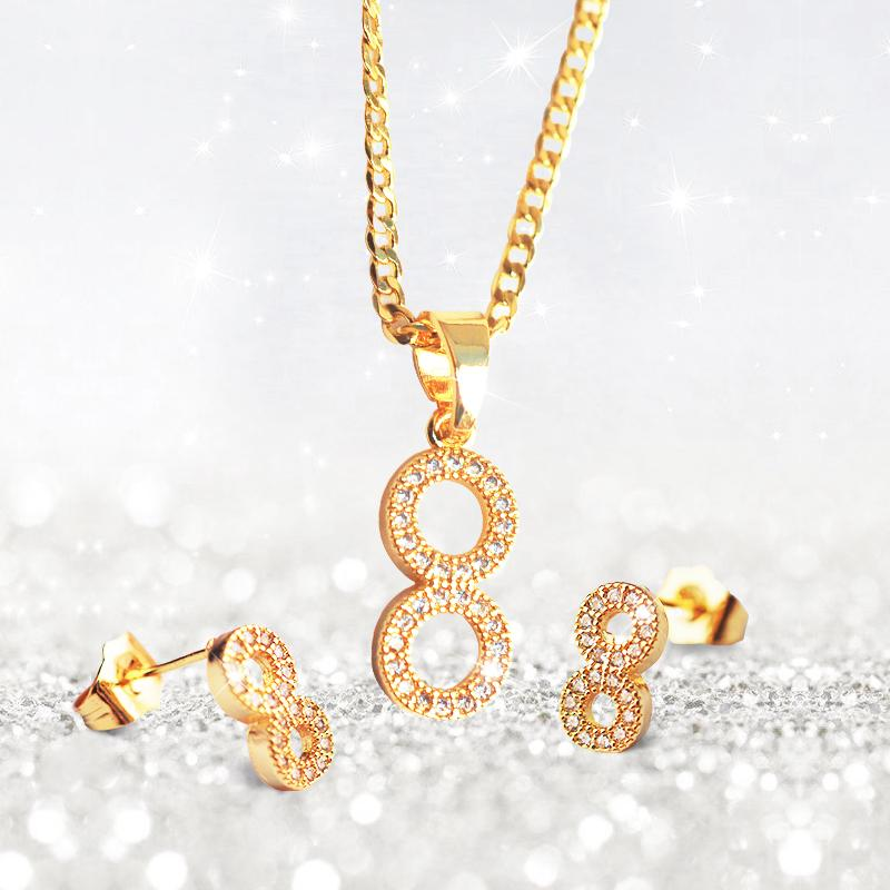 Wholesale 2018 new lucky number 8 europe and the united states wholesale 2018 new lucky number 8 europe and the united states selling 8 word pendant necklace and earrings set for women opal necklace handmade jewelry aloadofball Choice Image