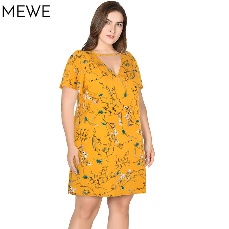 ca73aaaf1cdb New Summer Dresses In Large Sizes Casual Choker Shirt Dress 4xl 5xl Yellow  Floral Short Dresses XL 8XL Plus Size Loose Dress Tee White Dresses For  Juniors ...