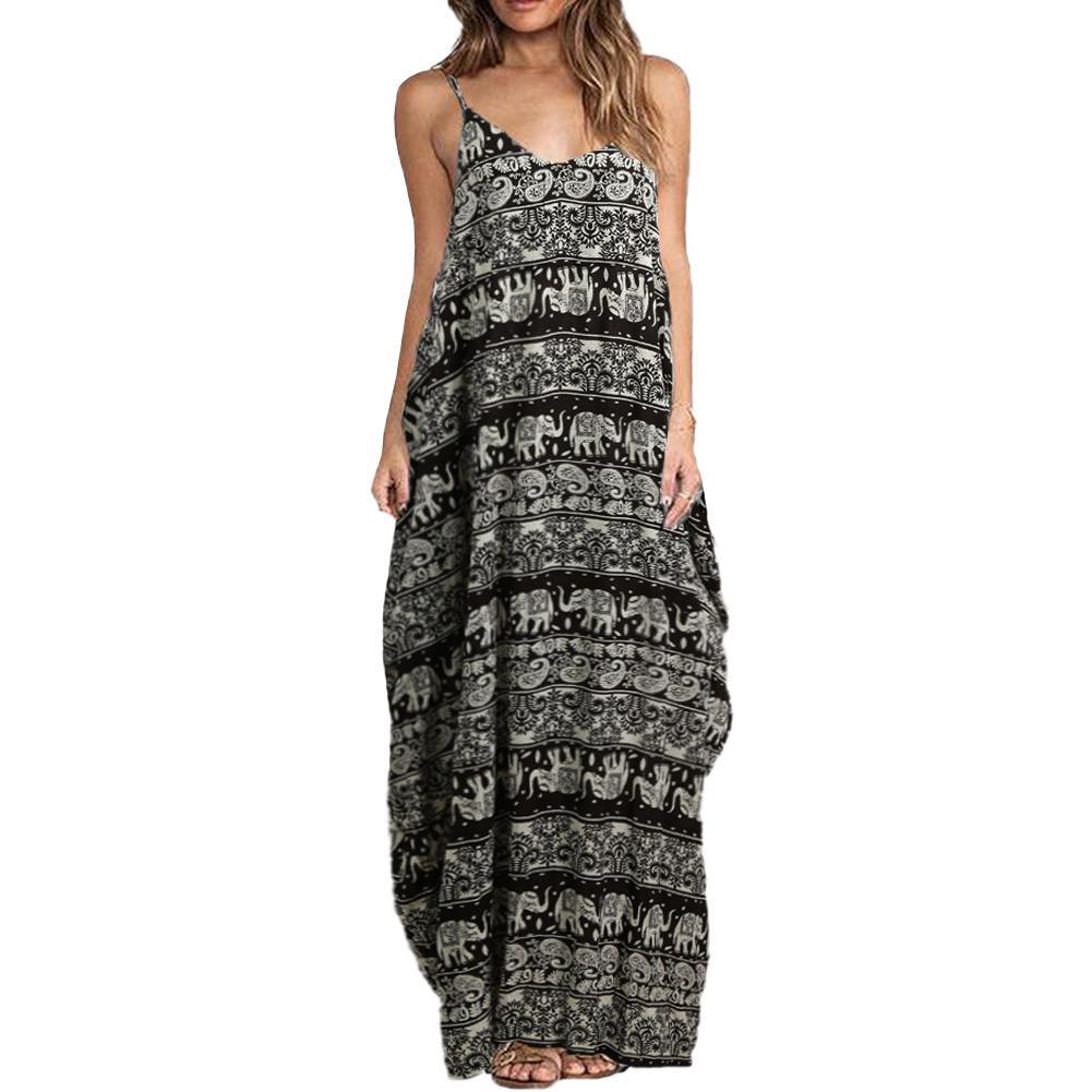 fe9b17e7da Sexy Women Boho Floral Print Dress Spaghetti Strap Bohemian Summer Beach  Dress Loose Long Maxi 5XL Plus Size Women Clothing 2019 White Lace Dress  Casual ...