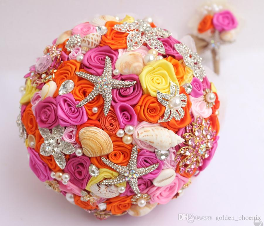 Custom Bridal Wedding Pink Orange Rose Korean DIY Brooch Holding Flowers Bridal Bridesmaid Bouquet