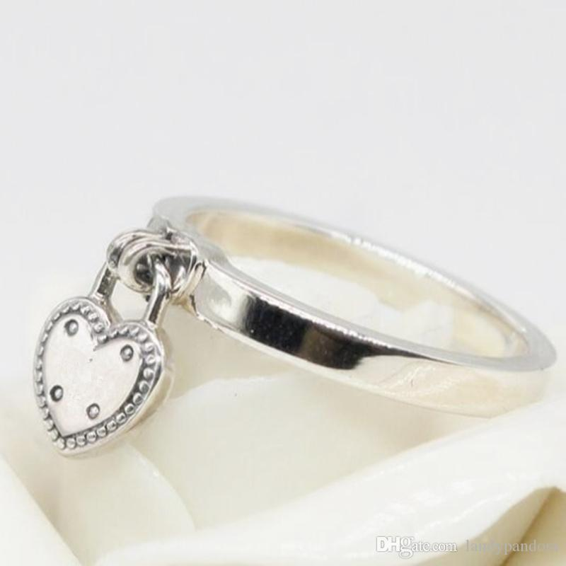 a55fe5779 2019 2018 New 100% 925 Sterling Silver European Pandora Jewelry Love Lock  Ring Fashion Charm Ring For Women From Landypandora, $16.89 | DHgate.Com