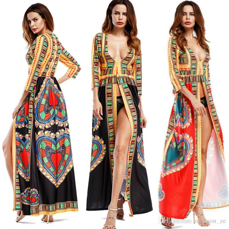 African Print Totem Printing Sexy Ethnic Style Deep V Neck Maxi Dress  Summer Women Bohemian Long Sleeve Clothes Tunic Split Long Dresses Cocktail  Dresses ... c1619394f906