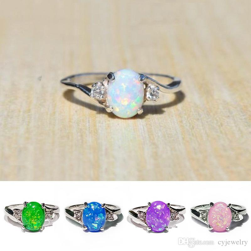 Fashion Charm Heart Love Ring Lady Engagement Wedding Ring Anniversary Heart Shape Opal Ring size 5-11