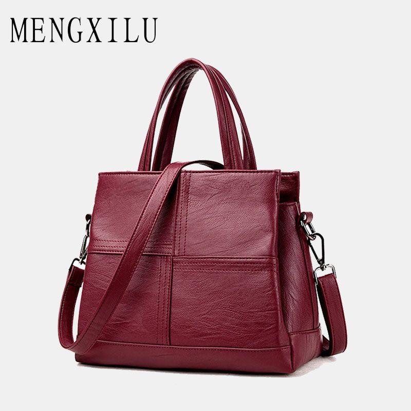 5ff48d706da2 MENGXILU Fashion Leather Women Bags Handbags Women Famous Brands Luxury  Designer Plaid Sholder Bag Ladies Casual Tote Sac A Main Shoulder Bags Cheap  ...