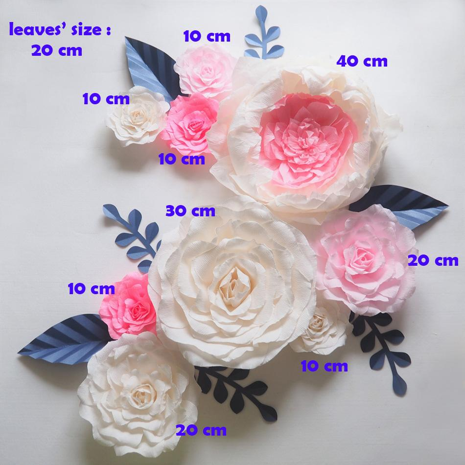 Cerpe large paper flowers wedding backdrop 7 leaves handmade cerpe large paper flowers wedding backdrop 9pcs 7 leaves handmade artificial crepe paper rose for party mightylinksfo