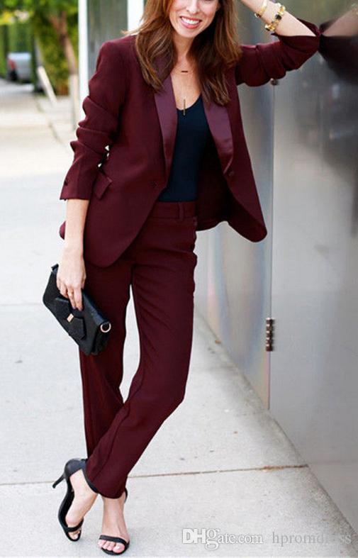 Women Professional Suits Burgundy Ladies Office Uniform