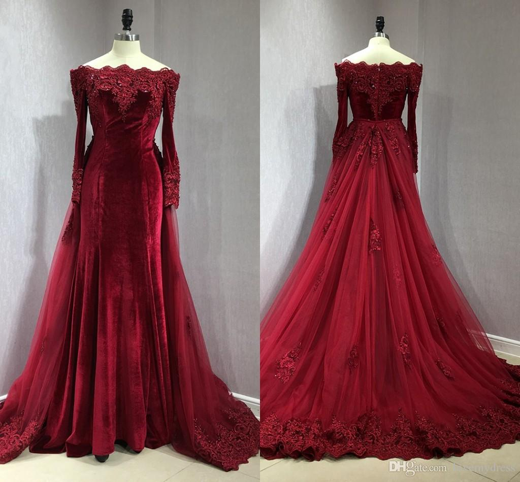 506398334fae Burgundy Velvet Long Sleeve Evening Dresses Formal Dress With Detachable  Train Off Shoulder Applique Beaded Sequins Mermaid Party Dress Prom Evening  Dressed ...