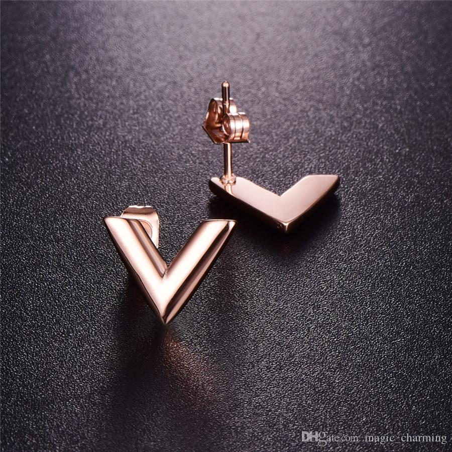 316L Stainless Steel Stud Earrings For Women Rose Gold-color V Letter Triangle Cute Earring Jewelry Gift