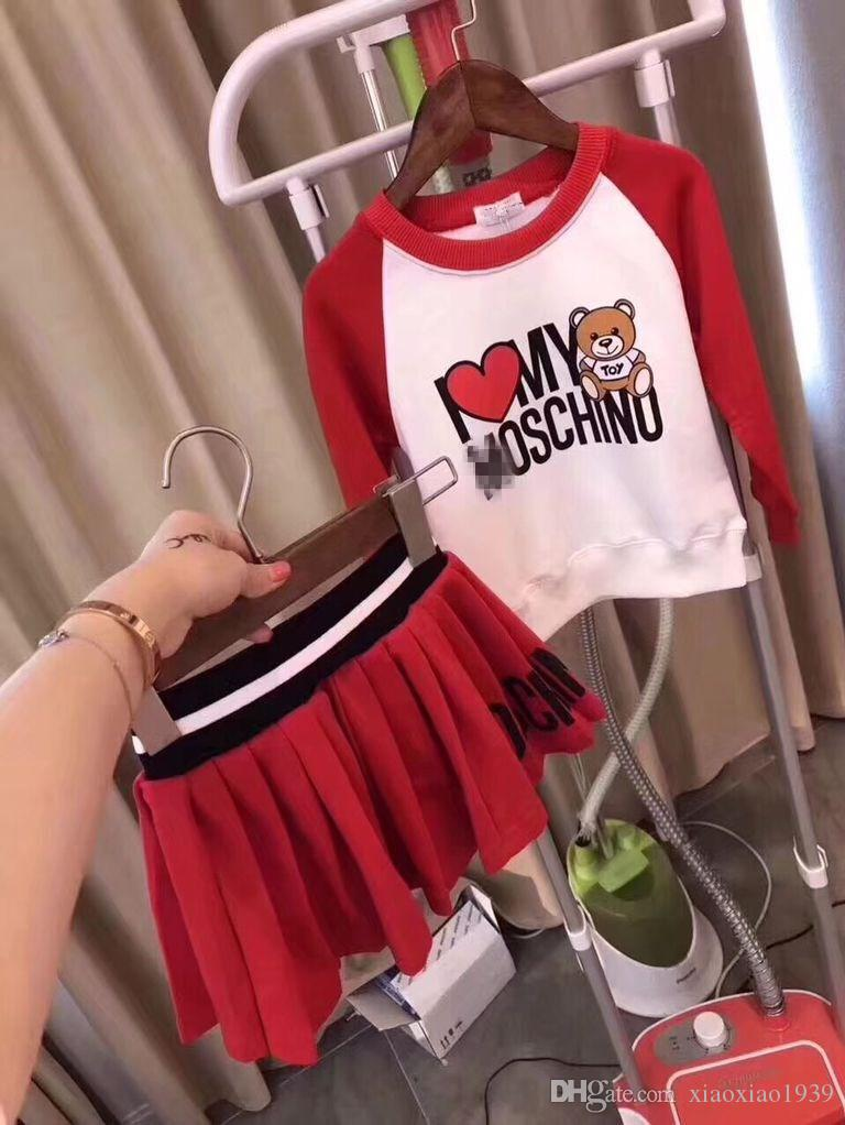 Kids set Spring Autumn Cartoon Clothing Sets Baby Boys Casual 2-Piece set Baby Girls red Long-sleeved Pajamas Small bear Clothing Set