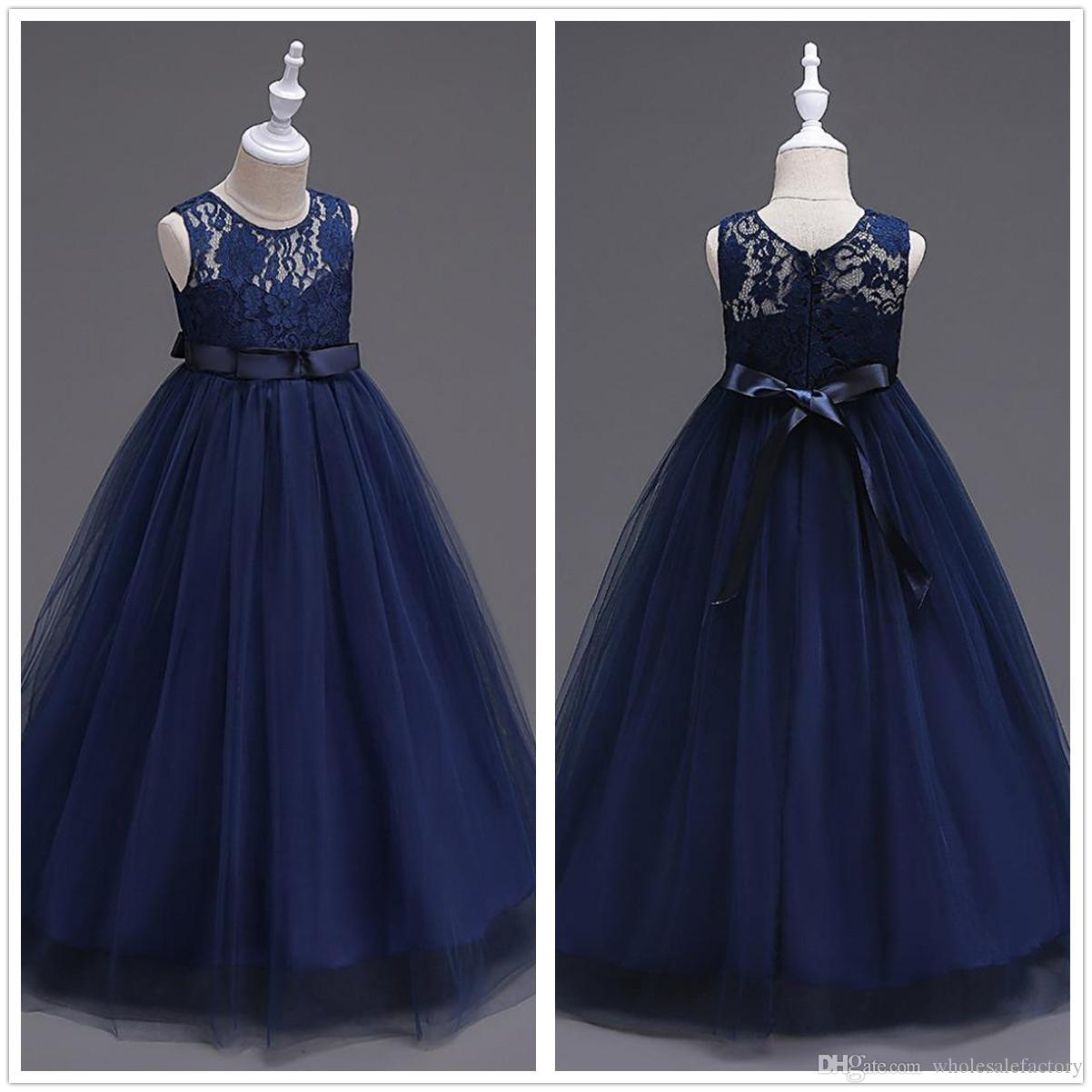 Cute Navy Blue Tulle A Line Sash Long Flower Girls' Dresses Crew Neck Sleeveless Lace Top Birthday Party Little Girl Dresses In Stock MC0889