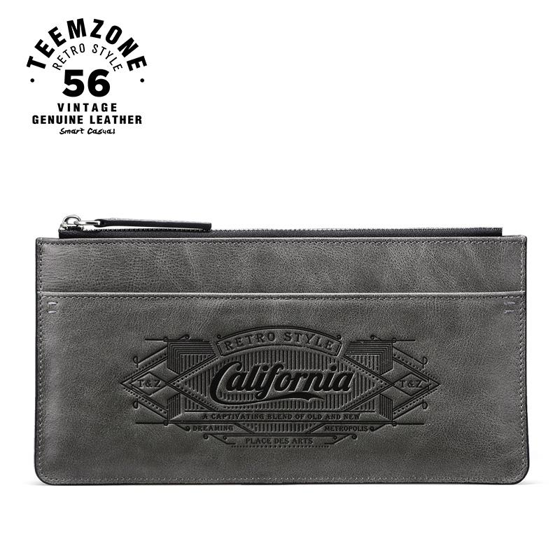 0bcd40c9d teemzone California Style Unique Design Men's Top Genuine Leather Wallet  Brand Checkbook Purse Coin Slim Long Wallet Q802-09