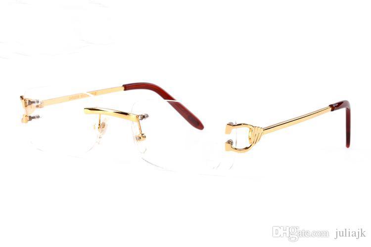2018 Famosa Marca de Metal de Ouro Quadros Das Mulheres Dos Homens Sem Aro Óculos de Designer de Moda Espetáculo Óculos De Sol Búfalo Óculos de Sol Lunettes Gafas
