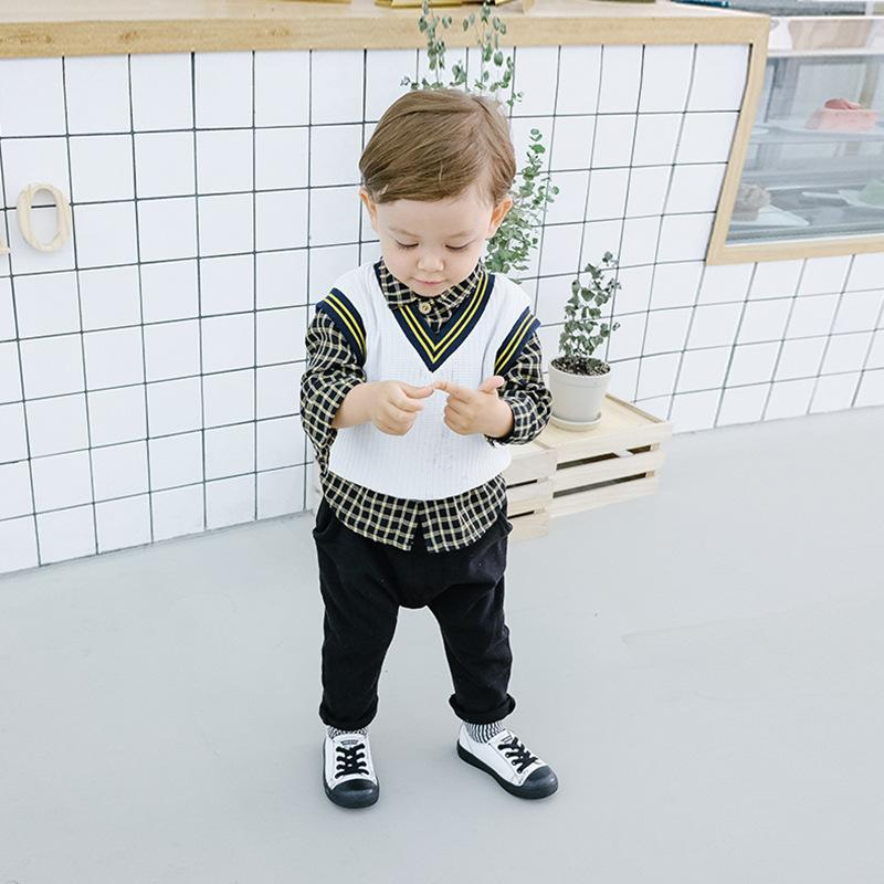 c4c9c2692fcd 2019 Baby Boy Clothing Sets Plaid Print Shirt + Vest +Pants Boy Casual  Gentleman UK Style 100% Cotton Clothing Sets For Spring Fall From  Ivytrade1125, ...