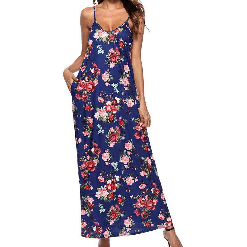 398285e9cc37 Femme Spaghetti Strap Floral Printed Long Maxi Dresses Women Boho Sexy  Beach Summer Sundress V Neck Pocket Dress Plus Size GV306 All White Maxi  Dress Cute ...