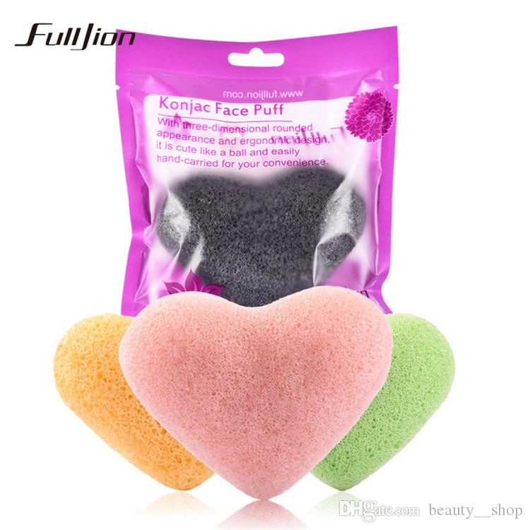 New Hot Sale Heart-shaped Ball Natural Konjac Konnyaku Sponge Facial Puffs Wash Cleansing Sponges For Face Makeup Beauty Tools