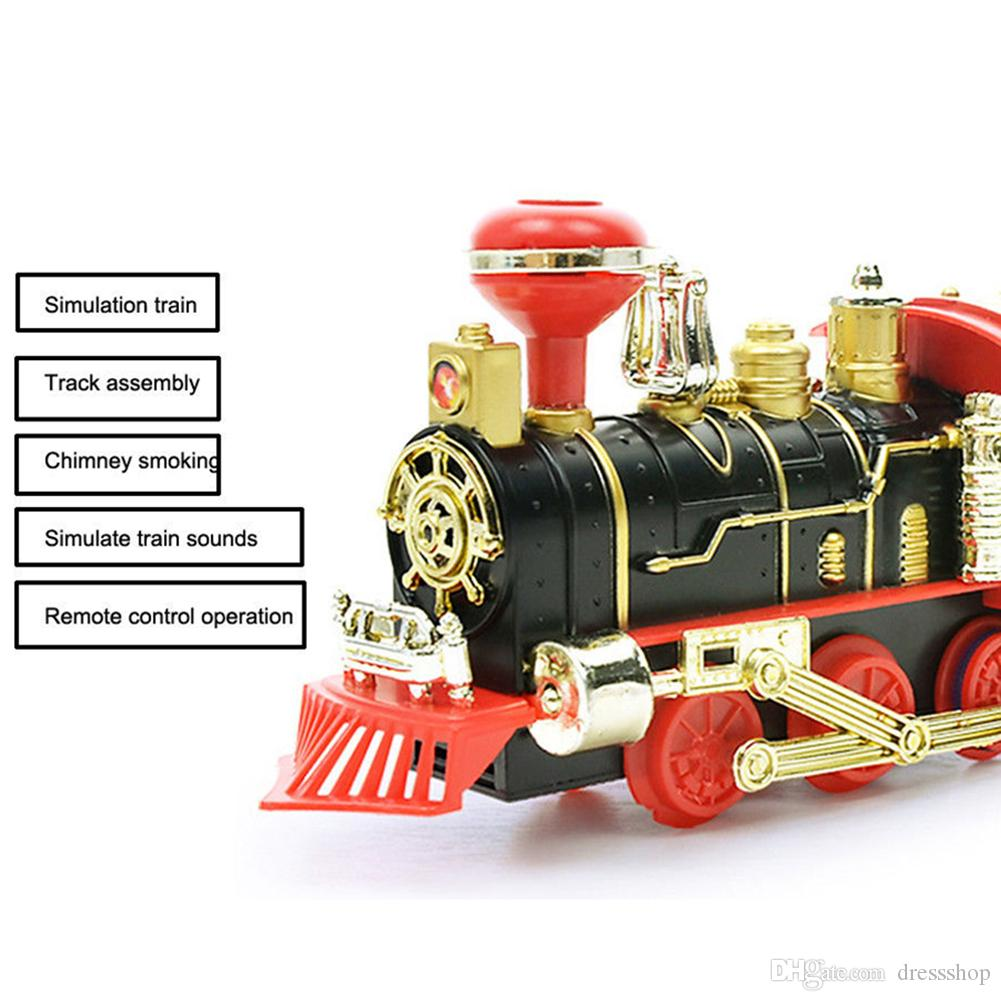hot mais novo elétrico recarregável vapor Smoke Train Modelo Car Truck Pista Toy Suit remoto