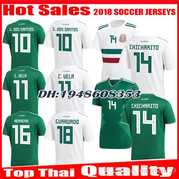 1656f4f403020 2018 2019 Mexico Jersey World Cup CHICHARITO LOZANO DOS SANTOS MARQUEZ  GUARDADO LAYUN HERRERA Home green Away white jerseys football shirt