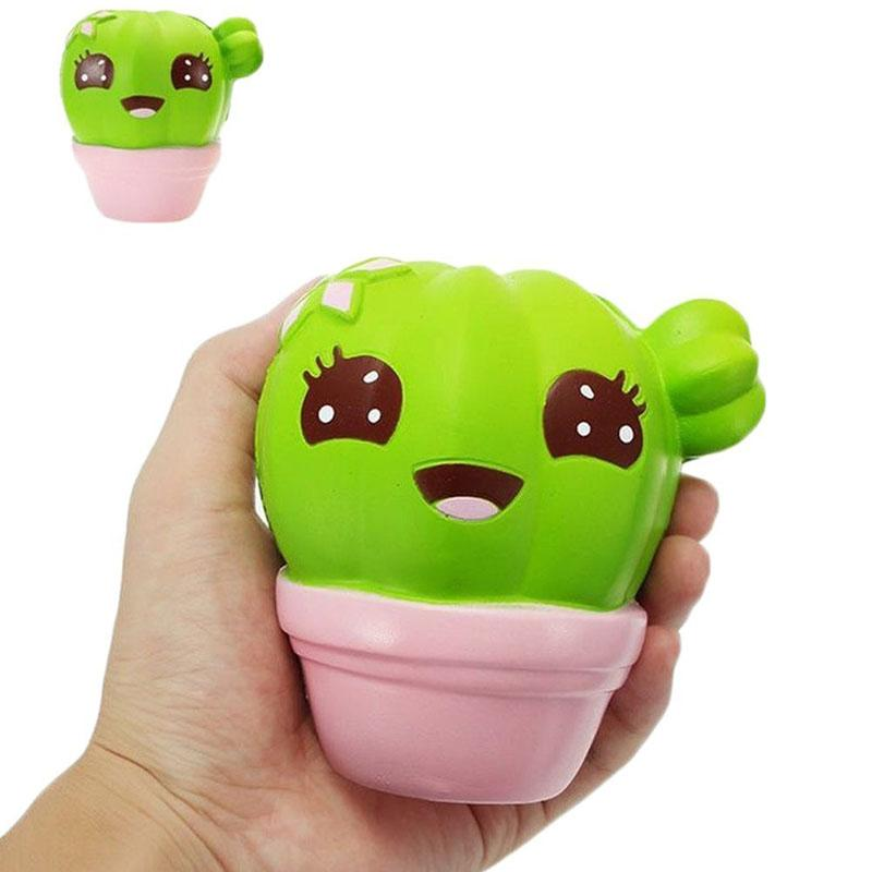 Squishys Cute Cactus Plant 10CM Soft Squeeze Healing Slow Rising Gift Phone Straps DIY Decor Toy Kids Christmas Gift P15