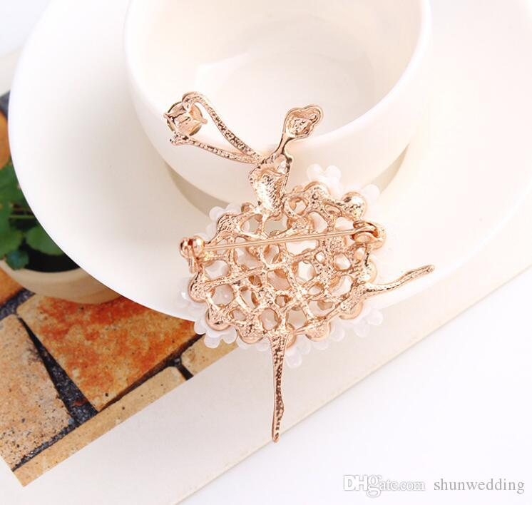 Fantacy Brooch Pin Multicolor Crystal Flower Skirt Ballet Dancer Clothes Accessories Floral Brooches For Wedding Bridal