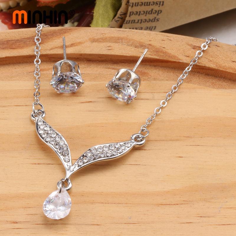 MINHIN Luxus Engagement Schmuck Sets Für Frauen Kristall Halskette Ohrringe Set Dubai Schmuck Sets Hochzeit Gold Set Geschenke