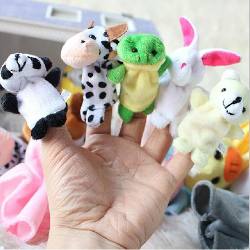 Creative Soft Cute Stuffed Plush Cartoon Animal Finger Puppet Early Educational Toys for Kids Birthday Gifts Funny Games