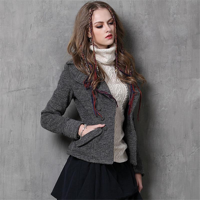 bc169785e55 2019 Women Wool Coats Vintage Slim Long Sleeves Short Coat Winter New  Europe Fashion Warm Thicken Pockets Jacket Winter Coat Women From Maoyili
