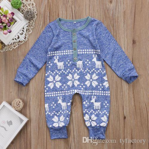 2016 weihnachten hirsch baby jungen mädchen strampler säuglingsstrickspielanzug weihnachten perfekte geschenk kinder overall body baumwolle kleidung outfits kostenloser versand