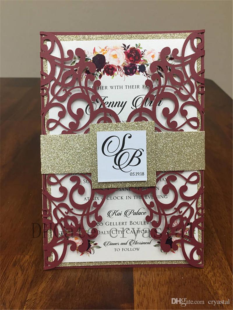 Beautiful Marsala Burgundy shimmer wedding invitation set Includes laser cut pocket, gold glitter belly band, printed invite & envelope