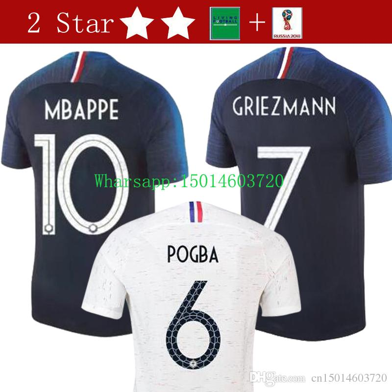 French 2018 World Cup Champions 2 Stars GRIEZMANN POGBA MBAPPE Jerseys Man  KANTE DEMBELE Maillot De Foot T-shirts Online with  19.6 Piece on  Cn15014603720 s ... 913c8c495